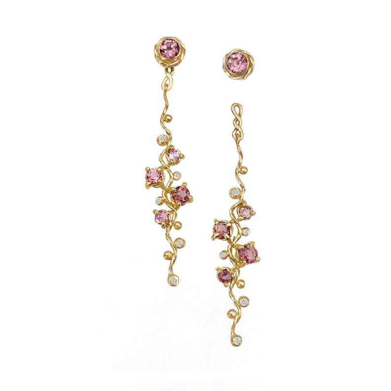 Pink Spinel and diamond four stone twist vine convertible stud dangle earrings by JeweLyrie made to order in 14k and 18k free domestic shipping