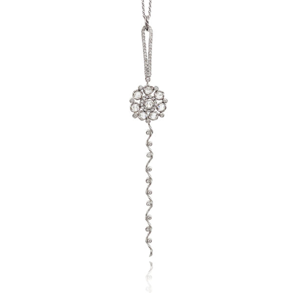 Rose-Cut Diamond Floral Pendant Necklace with Twist Wave Ribbon Tail and Micro Pavé Diamond Pear Loop Everyday Elegance Made to Order by JeweLyrie