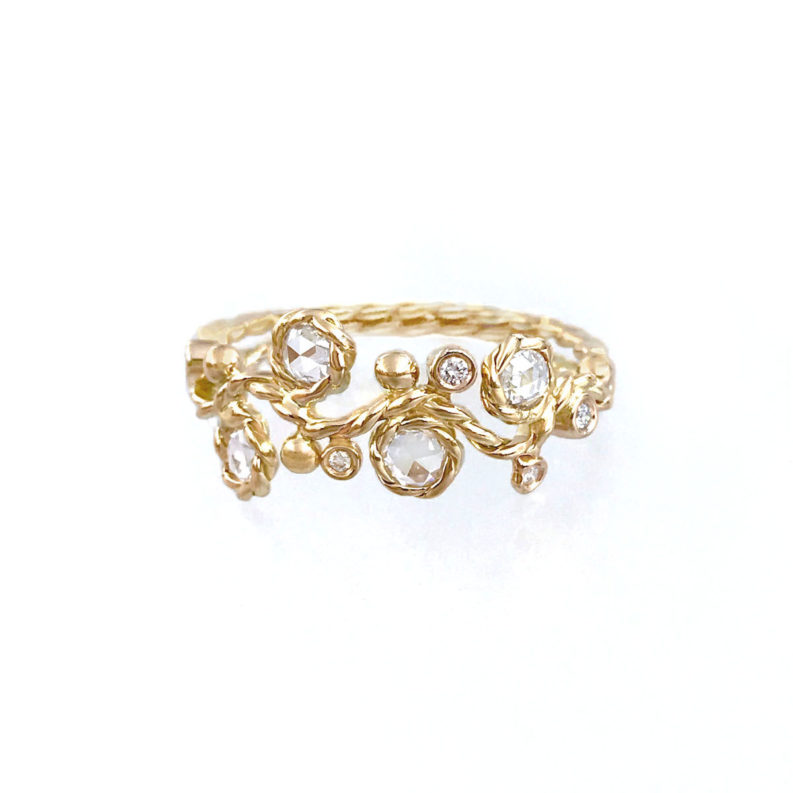 Rose-cut diamond four stone twist vine half ring withopen twist shank made toorder in 14k and 18k by JeweLyrie free domestic shipping