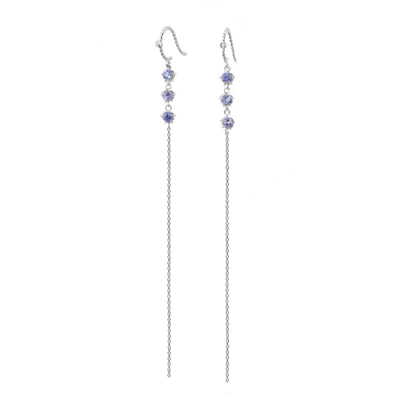 Signature twist base prong set tanzanite three stone threaders dangle earrings handcrafted in 14k 18k by JeweLyrie free domestic shipping