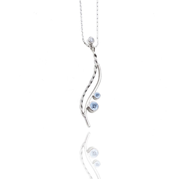 Twist open wave two-stone pendant necklace with gemstone and diamond accent light and elegant made to order by JeweLyrie free domestic shipping
