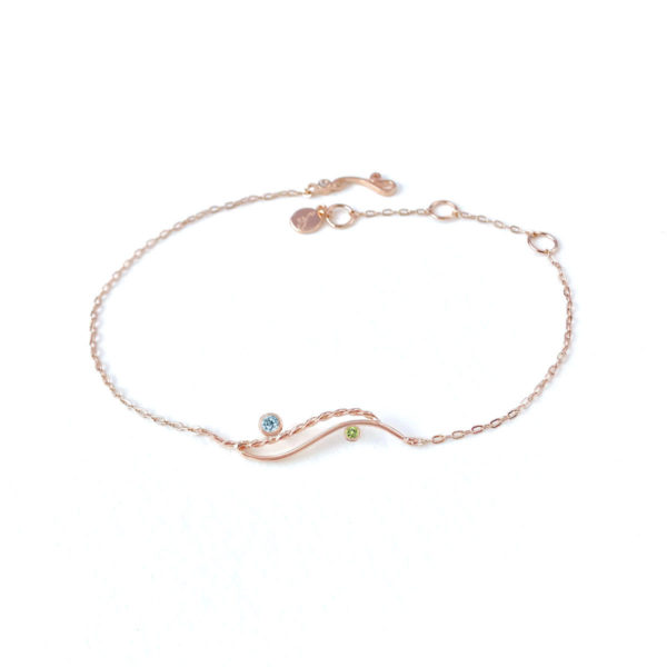 River-Rose open wave two stone bracelet handcrafted in 14k by JeweLyrie made to order for elegant modern women free domestic shipping
