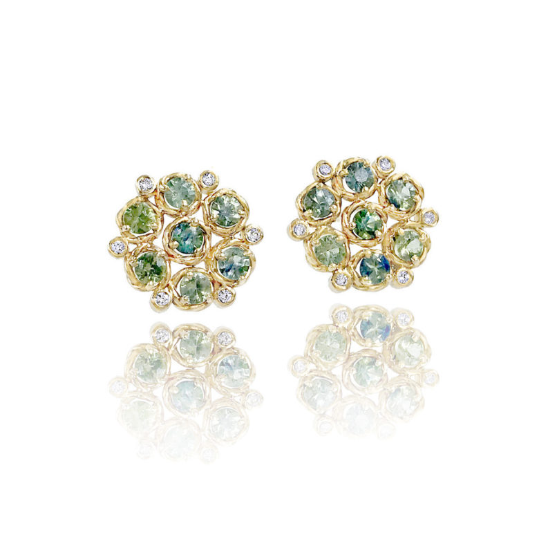 Signature twist base prong set blue and green sapphire bouquet cluster studs gold earrings handcrafted made to order by JeweLyrie free domestic shipping