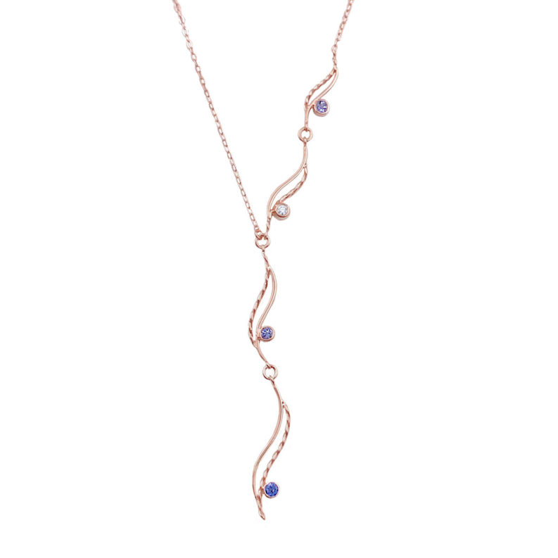 Double wave twist gemstone and diamond accent journey asymmetrical Y necklace light and elegant made to order in 14k,18k by JeweLyrie free domestic shipping