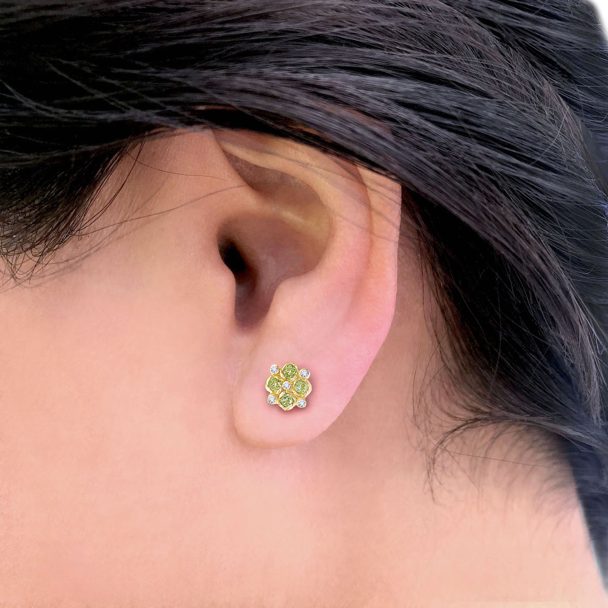 7mm-peridot-diamond-checker-cluster-studs-YG-14k-18k-3289-1 copy