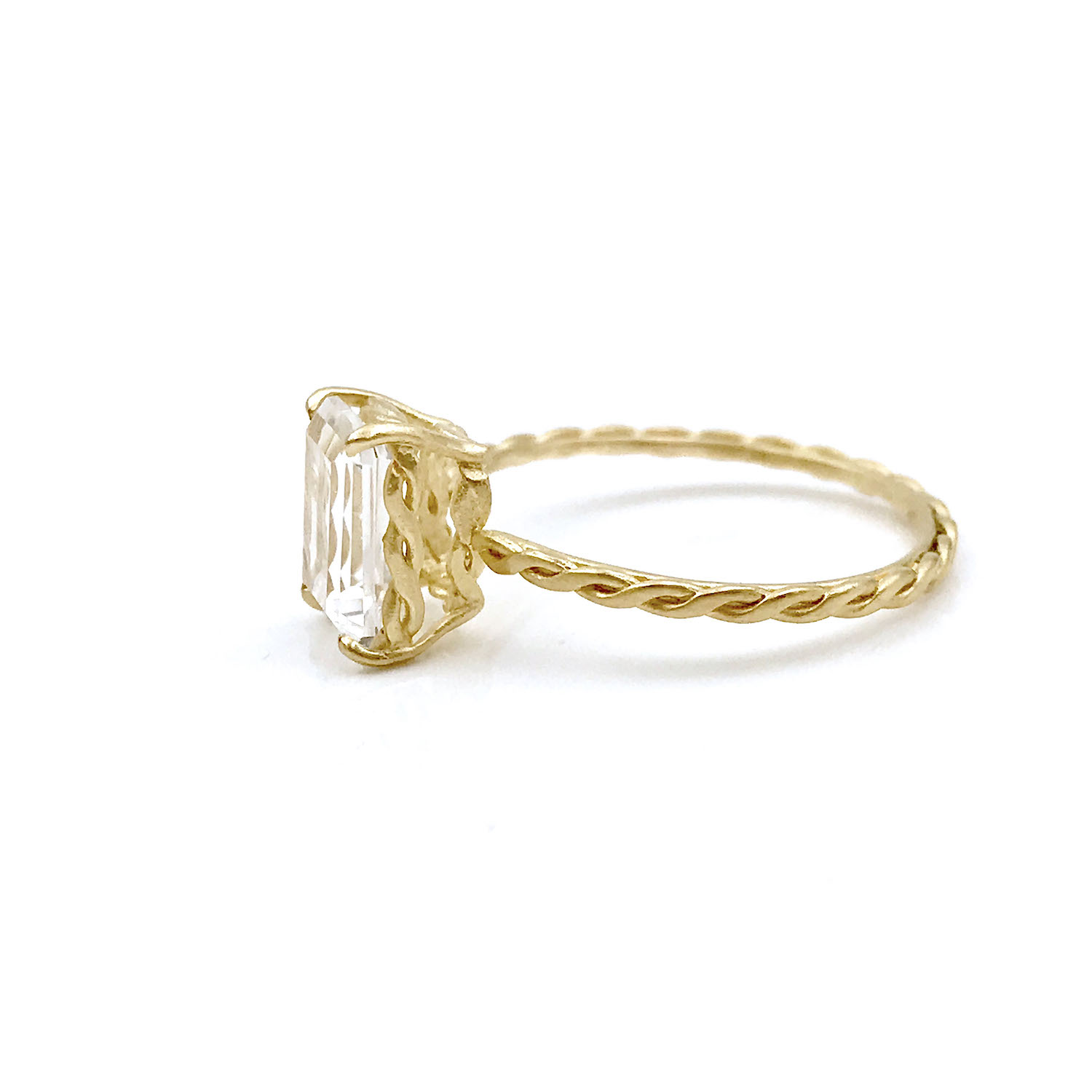 Emerald-cut clear topaz and diamond ring with signature twist setting and shank handcrafted in 14k and 18k made to order by JeweLyrie free domestic shipping_6784