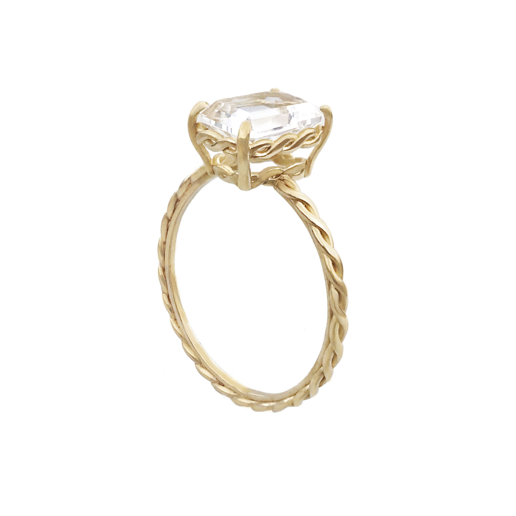 Emerald-cut clear topaz and diamond ring with signature twist setting and shank handcrafted in 14k and 18k made to order by JeweLyrie free domestic shipping_8392