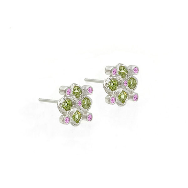 Signature twist bezel set peridot and bezel set pink sapphire checker studs gold earrings in 14k, 18k, made to order free domestic shipping by JeweLyrie