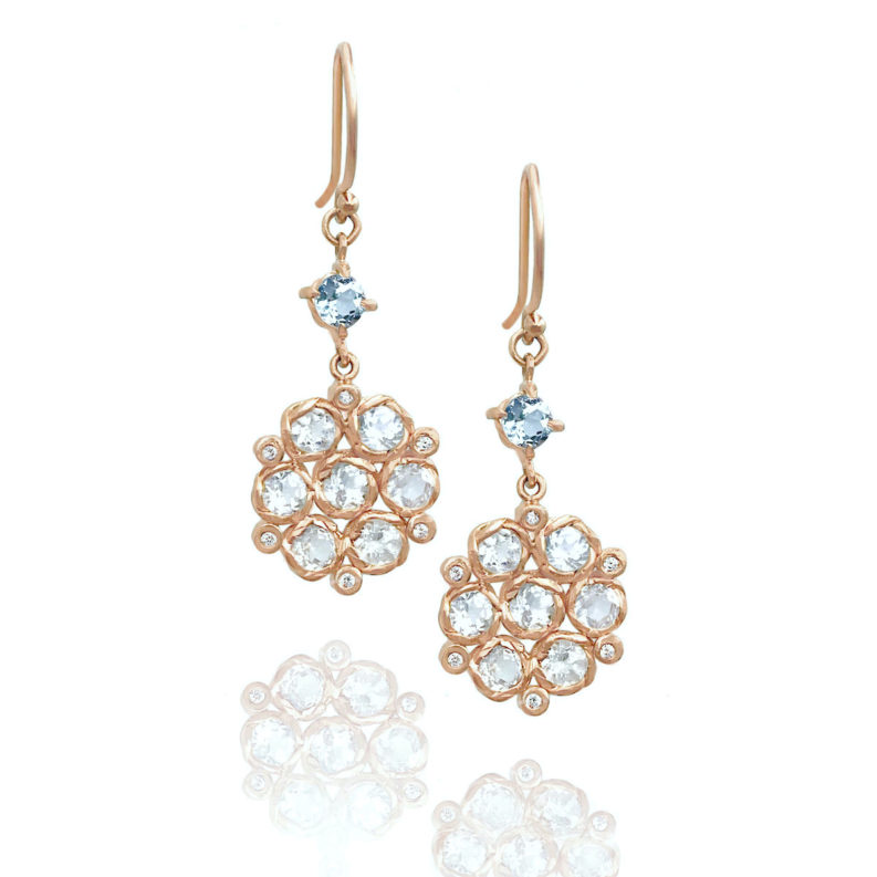 Aquamarine accent white zircon bouquet drop earrings in JeweLyrie signature twist settings made to order free domestic shipping