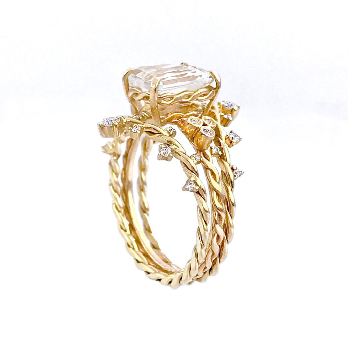emerald-cut-Clear-qurtz-diamond-solitaire-twiat-stacking-set-14k-18k-C-jewelyrie