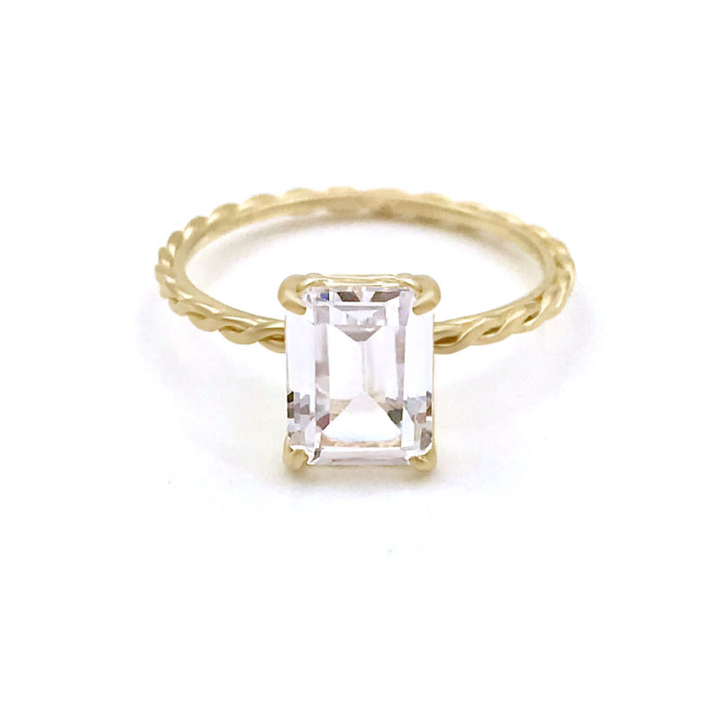 Emerald-cut clear topaz and diamond ring with signature twist setting and shank handcrafted in 14k and 18k made to order by JeweLyrie free domestic shipping