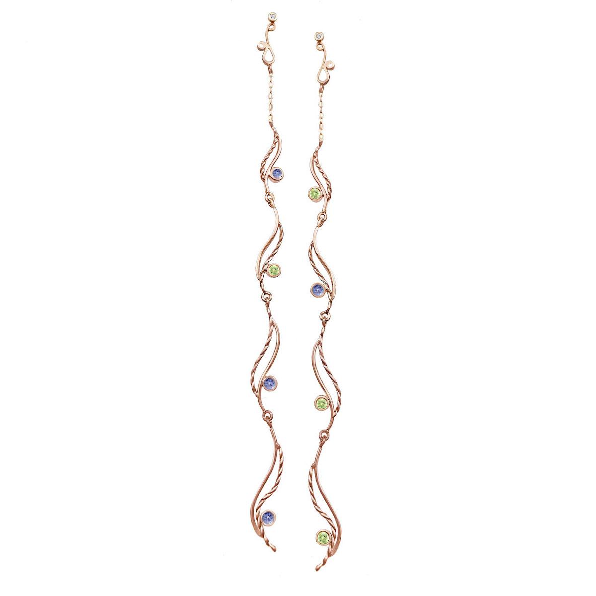 gemstone-accents-wave-journey-duster-earrings-14k-jewelyrie-PeridotTanzanite