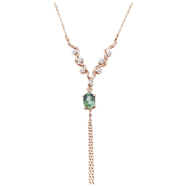 Twist wave Y necklace with oval green tourmaline and Chain Tassel Handcrated in 18k 14k by JeweLyrie Everyday Elegance Free Domestic Shipping