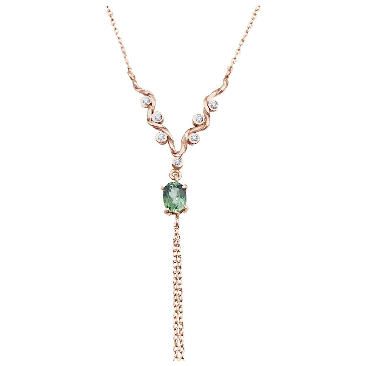 green-tourmaline-diamond-tassel-twist-wave-y-necklace-jewelyrie-14k-18k-RG
