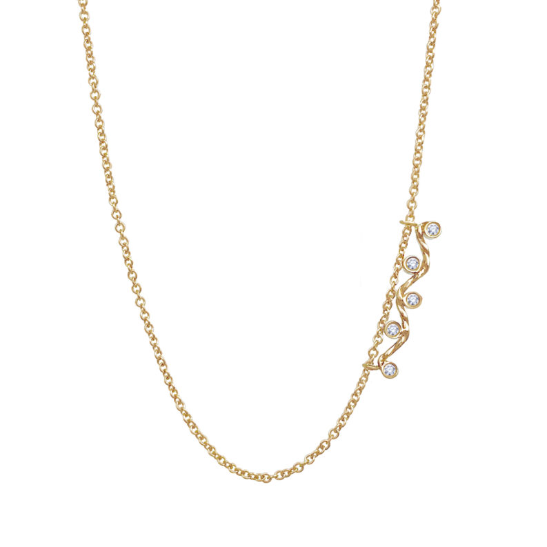 Five-diamond twist wave slider necklace handcrafted made to orer in 18k 14k by JeweLyrie everyday elegance free domestic shipping