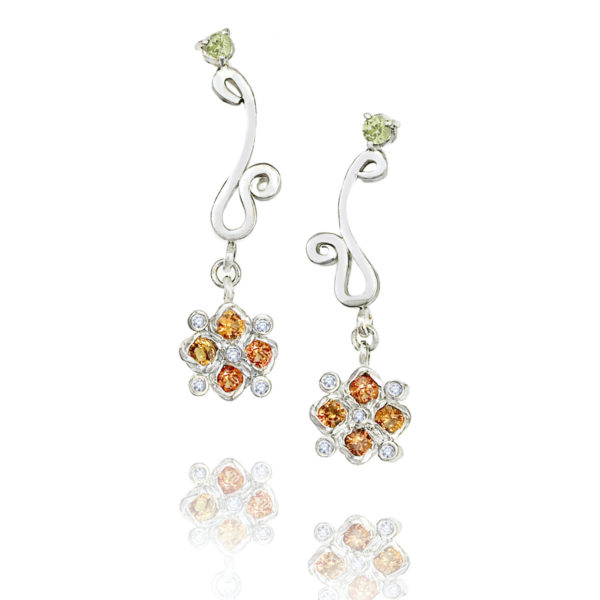 Orange sapphire & diamond checker cluster drop earrings with JeweLyrie logo and peridot accents, light and elegant made to order free domestic shipping