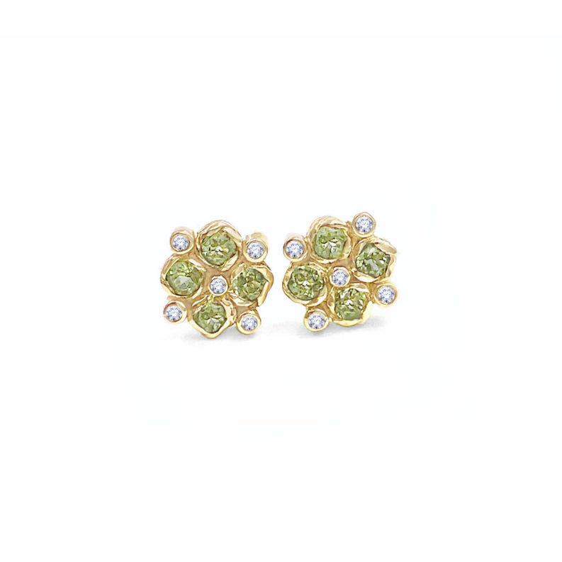 Signature twist bezel set peridot and bezel set diamond checker studs gold earrings handcrafted made to order free domestic shipping by JeweLyrie