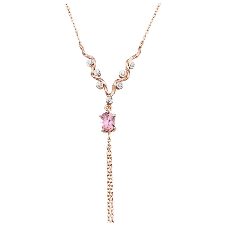 Twist wave Y necklace with oval pink tourmaline and chain tassel handcrated in 18k 14k by JeweLyrie everyday elegance free domestic shipping
