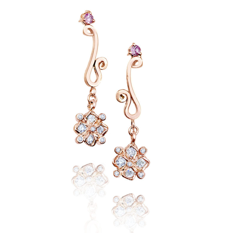 White zircon & diamond checker cluster drop earrings with JeweLyrie logo and pink tournaline accents light and elegant made to order free domestic shipping