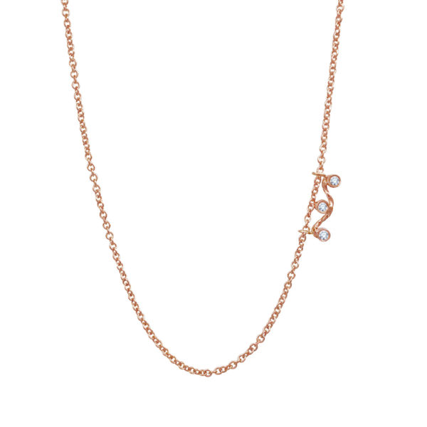 Three-diamond twist wave slider necklace handcrafted made to orer in 18k 14k by JeweLyrie everyday elegance free domestic shipping
