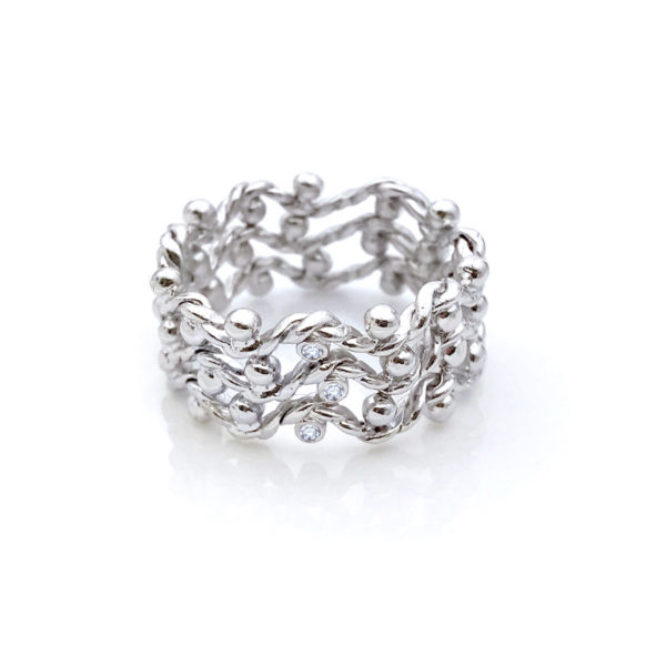 Triple twist wave chevon open lace band with three center diamond accents made to order in 18k, 14k, by JeweLyrie, free domestic shipping