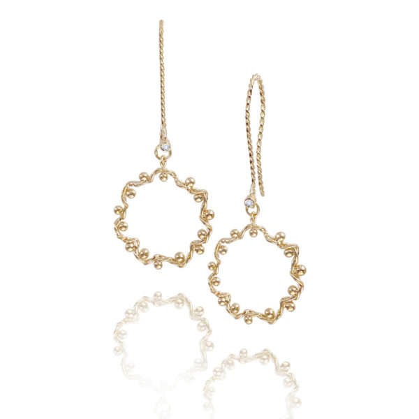 JeweLyrie signature twist wave dangle hoop earrings with twist textured french hook 14k,18k, made to order free domestic shipping