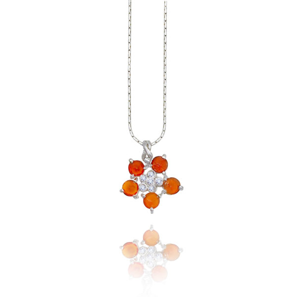 Forget-Me-Not flower pendant necklace with red-orange fire opal and diamonds made to order in 14k, 18k, free domestic shipping by JeweLyrie