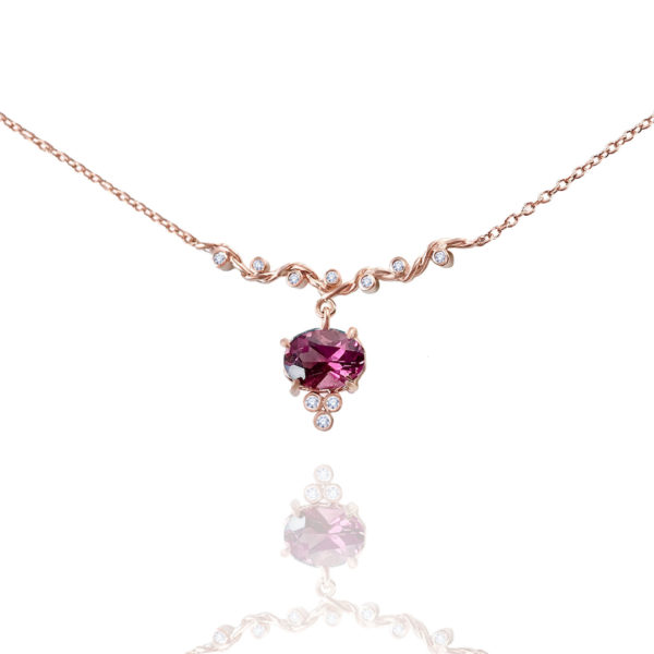 Rhodolite Garnet drop and diamond twist wave station necklace handcrafted made to orer in 18k 14k by JeweLyrie free domestic shipping