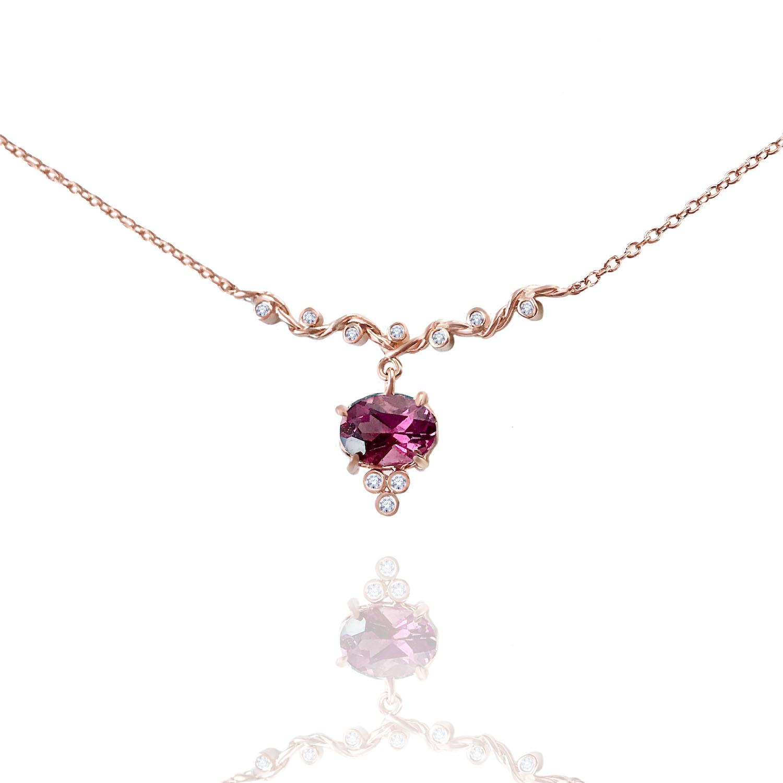 Rhodolite-Garnet-drop-twist-wave-station-necklace-14k-18k-jewelyrie