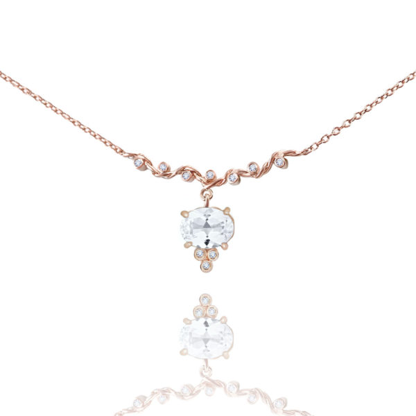 White topaz drop and diamond twist wave station necklace handcrafted made to orer in 18k 14k by JeweLyrie free domestic shipping