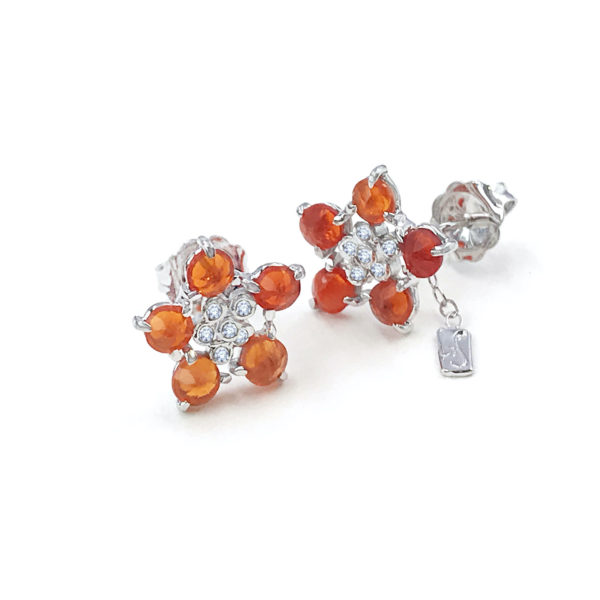 Forget Me Not flower studs earring with fire opal and diamonds made to order in 14k, 18k, free domestic shipping by JeweLyrie