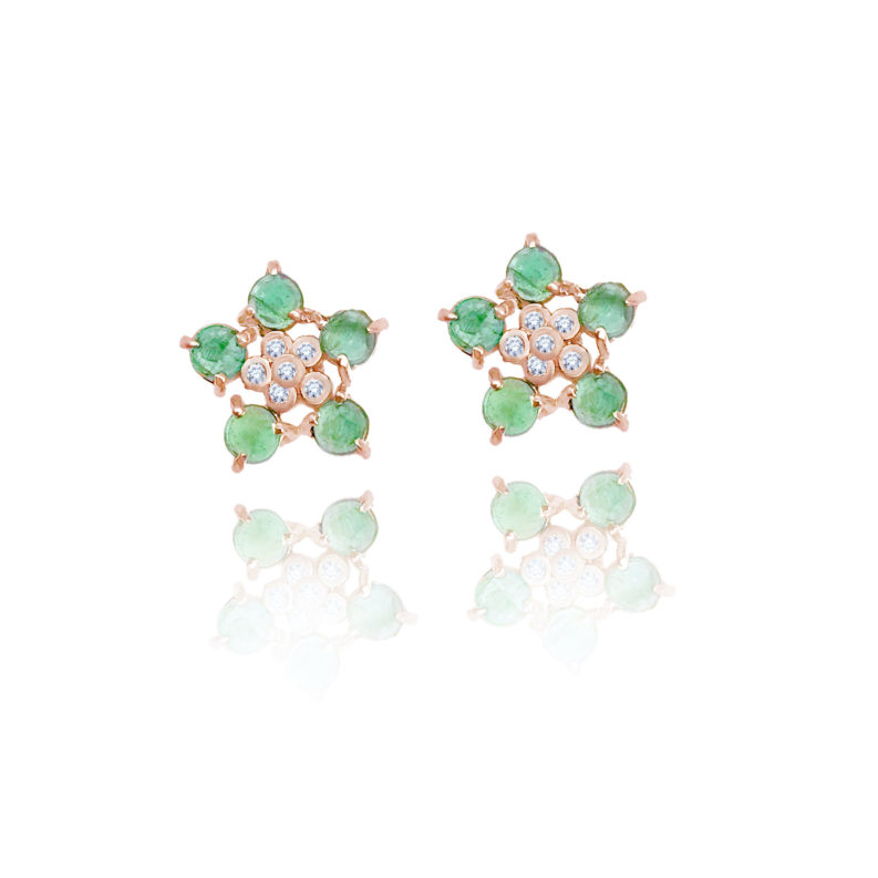 Forget-Me-Not flower studs earring with emerald and diamonds made to order in 14k, 18k, free domestic shipping by JeweLyrie