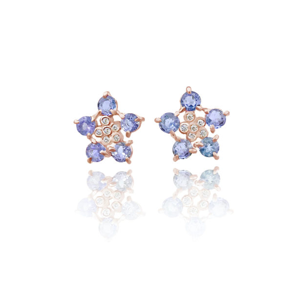 Forget-Me-Not flower studs earring with tanzanite and diamonds made to order in 14k, 18k, free domestic shipping by JeweLyrie