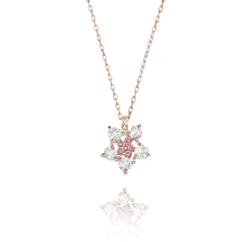 Forget-Me-Not flower pendant necklace with white zircon and pink sapphire made to order in 14k, 18k, free domestic shipping by JeweLyrie