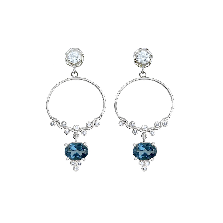 london-blue-topaz-drop-diamond-twist-hoop-post-earrings-14k-18k-WG-jewelyrie