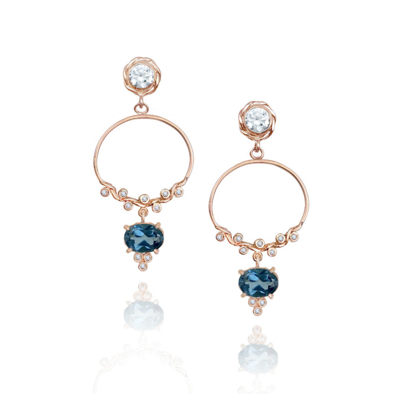 Diamond half twist hoop post earrings with London Blue Topaz drop made to order in 14k 18k by JeweLyrie free domestic sipping
