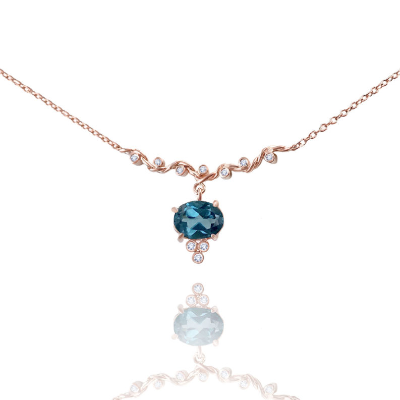 London blue topaz drop and diamond twist wave station necklace handcrafted made to orer in 18k 14k by JeweLyrie free domestic shipping