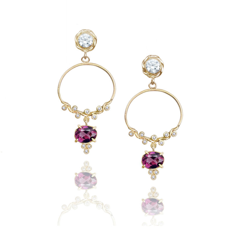 Diamond half twist hoop post earrings with Rhodolite Garnet drop made to order in 14k 18k by JeweLyrie free domestic sipping
