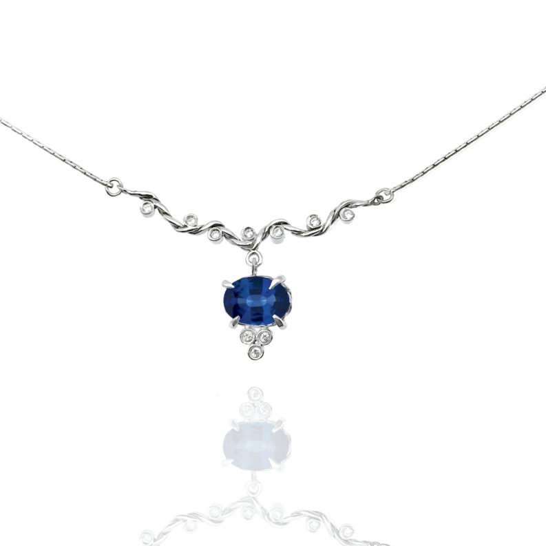 Blue sapphire drop and diamond twist wave station necklace handcrafted made to orer in 18k 14k by JeweLyrie free domestic shipping