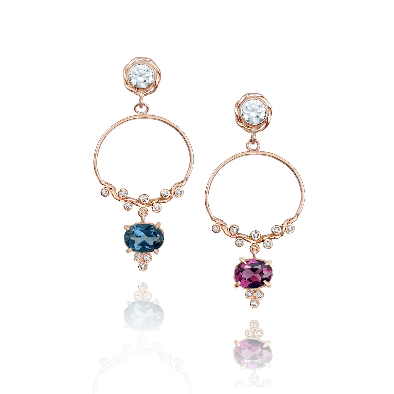 twist-dangle-hoop-gem-drop-Topaz-Garnet-earrings-14k-jewelyrie copy