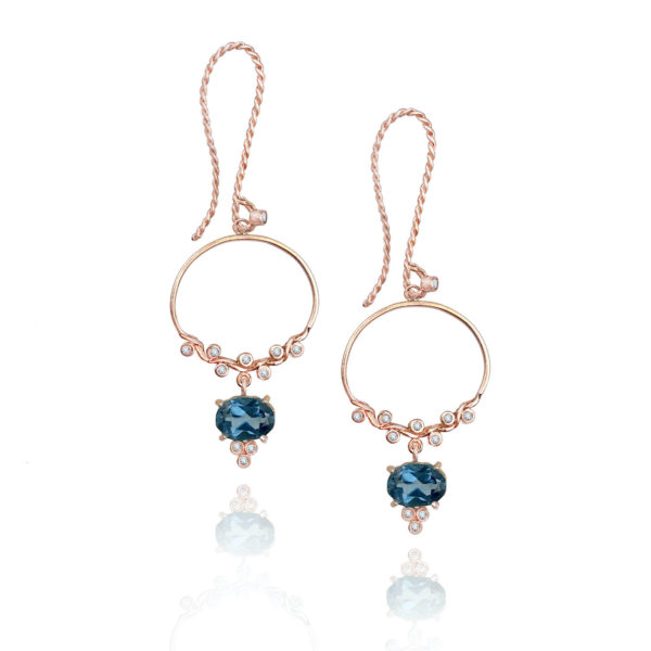 JeweLyrie signature dangle hoop gem drop earrings with twist textured french hook 14k, made to order free domestic shipping