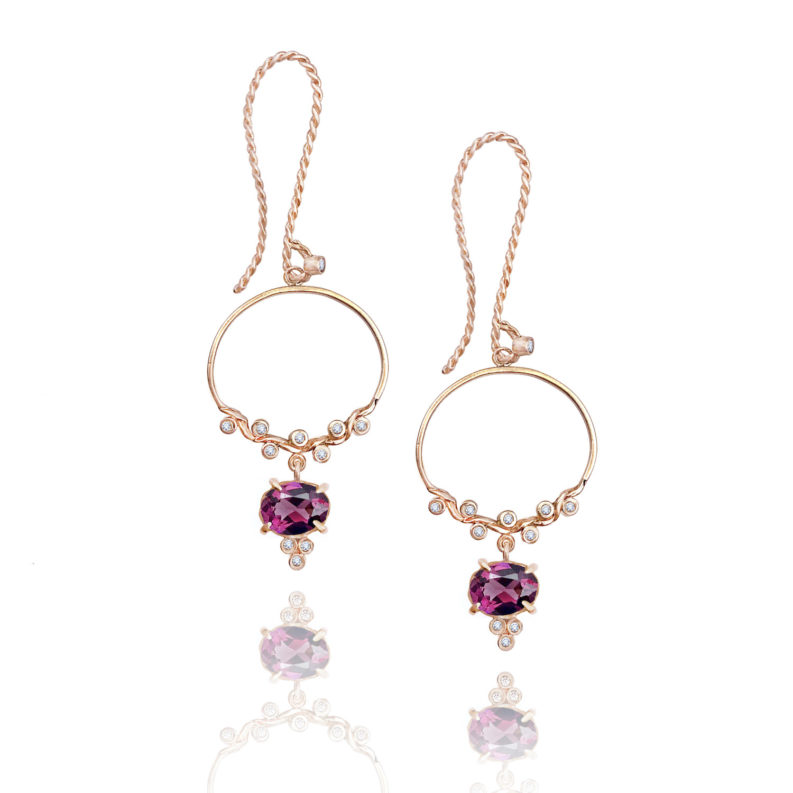 JeweLyrie signature twist half hoop garnet drop earrings with elongated french earhook 14k 18k made to order free domestic shipping