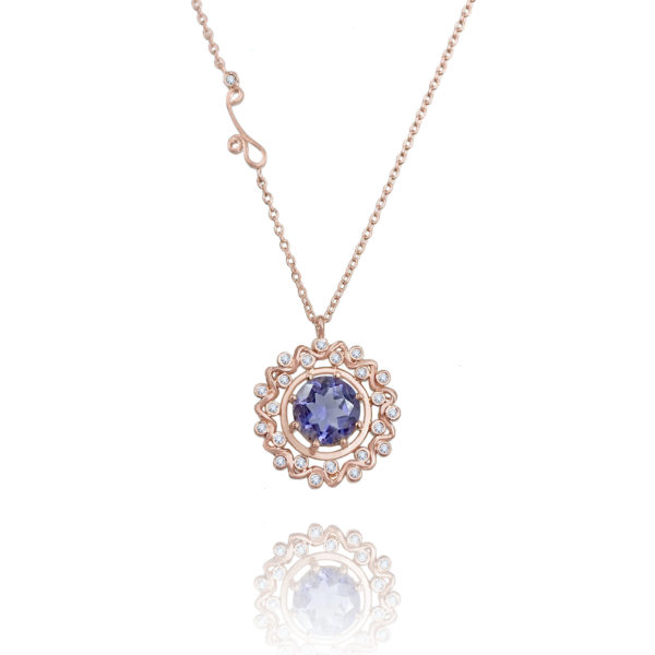 Prismatic bluish-purple Tanzanite pendant necklace wrapped with twist wave diamond halo in 14k and 18k by JeweLyrie free domestic shipping