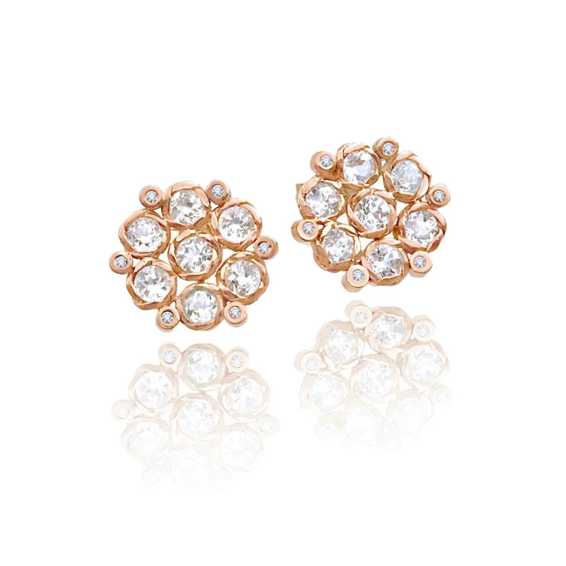 Signature twist set white zircon and diamond floral cluster studs gold earrings with 14k 18k handcrafted by JeweLyrie