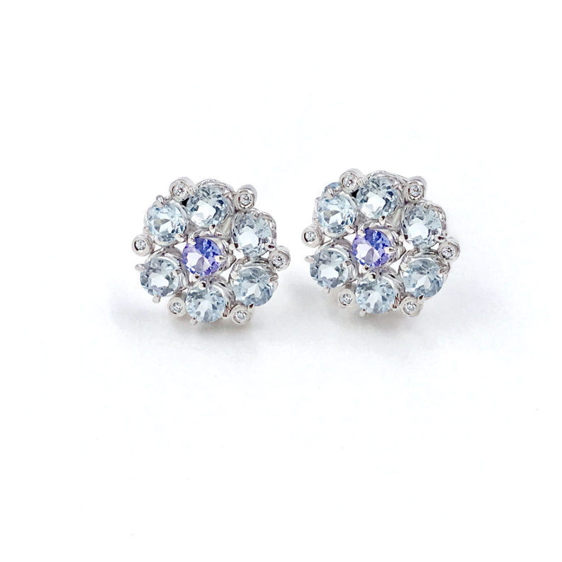 Signature twist base prong set floral cluster studs gold earrings with aquamarine petals and tanzanite center 14k 18k handcrafted by JeweLyrie