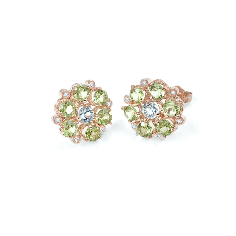 Signature twist base prong set floral cluster studs gold earrings with peridot petals and aquamarine center 14k 18k handcrafted by JeweLyrie