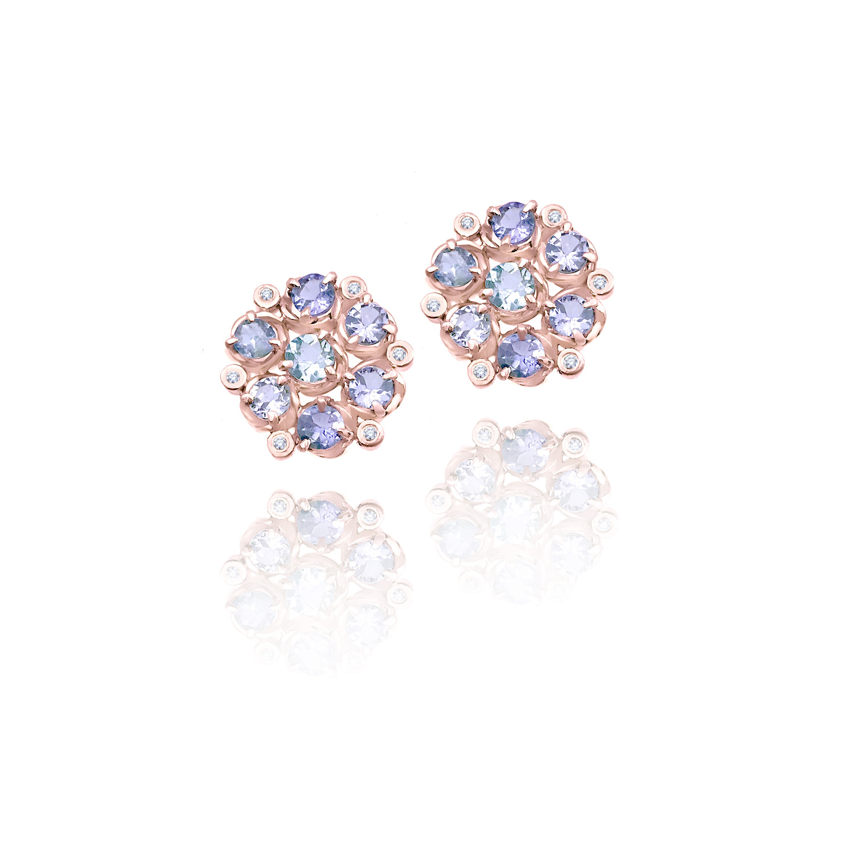 tanzanite-aquamarine-bouquet-cluster-studs-14k-18k-jewelyrie