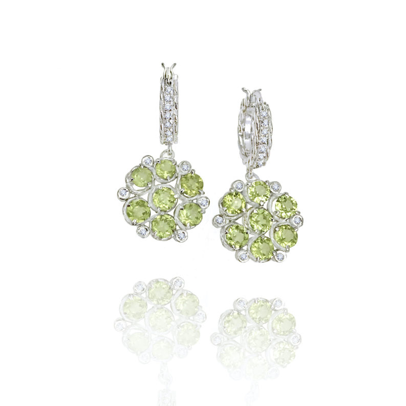 Signature twist base prong set Peridot bouquet cluster dangle earrings with twist trimmed pavé diamond huggie by JeweLyrie