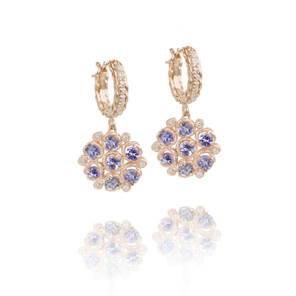 Signature twist base prong set Tanzanite bouquet cluster dangle earrings with twist trimmed pavé diamond huggie by JeweLyrie