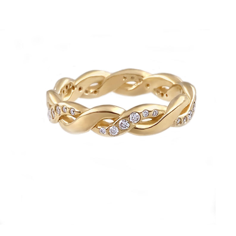 chunky twist diamond ring 14k 18k handcrafted by JeweLyrie made to order free domestic shipping